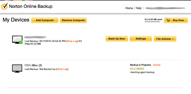 Norton Online Backup Screenshots 1