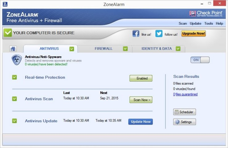 ZoneAlarm FREE ANTIVIRUS + Firewall 2016 Screenshots 2